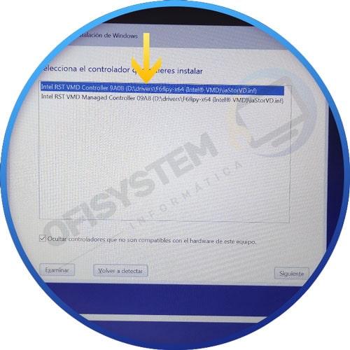 seleccionando controlador sata para HP 15s-fq2040ns SIN particiones en la instalación de Windows 10